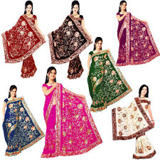 Bridal Bollywood Embroidery Sari Saree Wedding DANSE DU VENTRE ROBE Choose Color