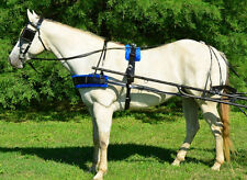 COB/ARAB* SIZE BLACK BIOTHANE with Silver Spots & BLUE PAD Driving Horse Harne