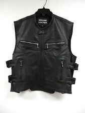 Mens Perforated Leather Motorcycle Biker Vest W/Armor Brand New
