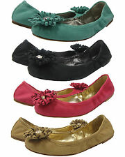 Coach Womens Ariza Green Black Pink Gold Flower Slip Ballet Flats Fashion Shoes
