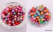 300 pcs Mixed Color Smooth Pearl Spacer Loose Beads Jewelry Findings 6mm