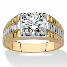 Men's 2-Carat Round Cubic Zirconia 14k Yellow Gold-Plated Two-Tone Ribbed Ring