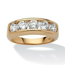 Men's 2.50 TCW Cubic Zirconia 18k Gold over .925 Sterling Silver Wedding Band