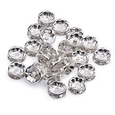 50pcs Silver Plated Rondelle Glass Crystal Beads For Basketball Wives Earring