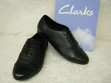 Clarks Girls Erica Lace Jnr Black Leather Lace Up School Shoes