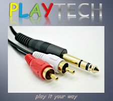 Gold Plated 1 x DC 6.35mm 6.3mm Stereo Mono Jack Lead to 2 x RCA Phono Cable