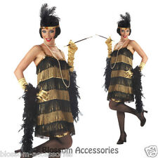 1920s Flapper Jazz Time Honey Black Gold Fancy Dress Womens 20's Adult Costume