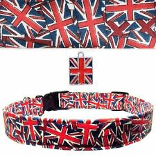 Union Jack Flag Dog Collar,British,England,UK Charm,Cotton PICK SIZE Made in USA