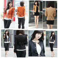 M L XL XXL Womens Slim Fit Double-breasted Puff Sleeve Suit Blazer Jacket Coat Z