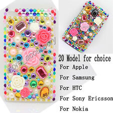 Multicolour Rose Bling Crystal Plastic Back Case Cover For Mobile Cell Phone #A