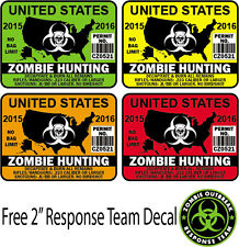 "4"" United States Zombie Hunting Permit Sticker Decal USAOutbreak Walking Dead"