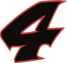 """x1 4"""" Digit  (more in ebay shop) Race Numbers vinyl stickers Style 2 Black/Red"""