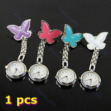 New Butterfly Nurse Clip-on Fob Brooch Pendant Hanging Pocket Watch Fobwatch