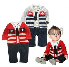 Baby/Toddler Boy Fall Long Sleeves Gentleman w/tie Costume One-piece 6-24 months