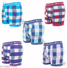 MENS CROSSHATCH RE CHECK CHECKED COLOURED FITTED BOXER SHORTS. S,M,L,XL