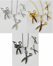 NEW CRYSTAL SCISSORS PENDANT NECKLACE STRETCH RING & EARRINGS SET HAIR STYLIST