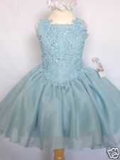 Baby Girl National Glitz Pageant Wedding Formal Party Dress Aqua one-7 years old