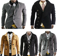 Designer Mens Casual Slim Jacket Double PEA Wool Half Trench Coat Collection