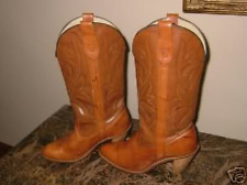 VINTAGE TAN MISS CAPEZIO WOMEN WESTERN MARBLED LEATHER COWBOY BOOTS 6 6.5 7 M