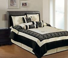 Faux Silk Bedding Embroidered in Beige and Black King Comforter 7 Piece Set