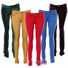 NEW LADIES WOMENS COLOURED SKINNY FIT DENIM JEANS STRETCHY SIZE 6 8 10 TP 18