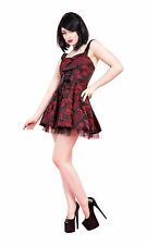 Glamour 1950's Vintage Style Red Brocade Lace Up Mini Dress New Sizes 8 - 16