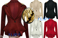 Womens Spike Studded Jacket Ladies Peplum Frill Blazer Tail Back Sexy Top 8-14