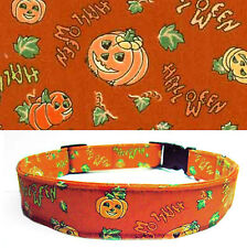 DOG COLLAR Halloween Pumpkins Orange Charm/Bell Cotton PK SZ, Handmade USA