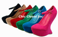 Mary Jane Platform Wedge High Heel Less Ankle Strap Fux Suede NEW Women Shoes
