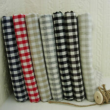 Shabby Chic WOVEN Gingham Check Cotton Linen Fabric