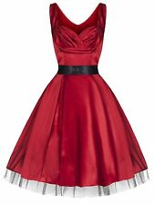 New Glamorous 1950's Sweetheart  Red Silky Party Prom Cocktail Dress  8  - 18