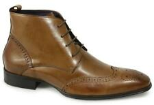 Gucinari BLAINE Mens Leather Brogue Lace Up Chukka Dealer Boots Formal Tan 6-12