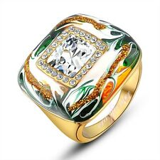 vintage 18k yellow gold plated crystal ring charming good quality R193