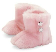 A PAIR OF MUD PIE PINK FAUX FUR BOOTEES- 0/6 MONTHS OR 9/12 MONTHS