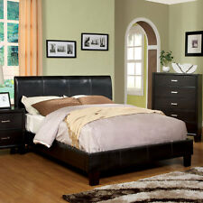 Villa Espresso Finish Leatherette Platform Bed Frame Set
