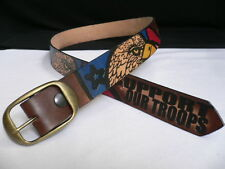New Men Leather Western Belt Support Our Troops American Eagle 32 34 36 38 Usa