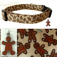 DOG COLLAR,Christmas BrownGingerbread Men,Cotton,Charm/Bell,PICK SZ Handmade USA