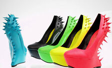 New Spiked High Heel Less Round Toe Platform Wedge Curved Neon Sexy Women Shoes