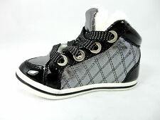 Girls quilted Hi Top Trainer Pump , Flat, Fur Lined, Lace Up Shoes Sizes 24-35