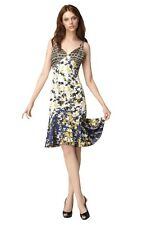 $695 JUST CAVALLI ROBERTO CAVALLI DRESS LEAF PRINT FLARED SKIRT
