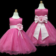 USMD58 Pink Wedding Pageant Christmas Party Flower Girl Dress 1 to 14 Years