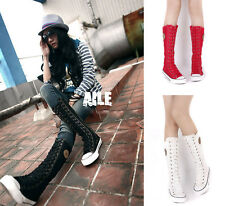 New Women Girl Punk Rock Gothic Canvas Boot Shoe Sneaker Knee High Zip Lace Up