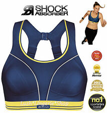 SHOCK ABSORBER Run Sports Bra Navy Blue Yellow Reduces Bounce 32 - 34 B to F