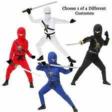 Child Warrior Ninjas Red Blue Black White Ninja Assassin Suit Halloween Costume