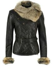 E Funk Ladies Washed 100 % Soft Lamb Leather Raccoon Fur Collar Jacket !