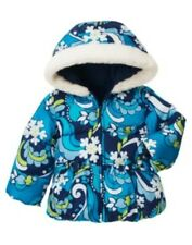 GYMBOREE SNOWFLAKE SHIMMER BLUE SNOWFLAKE PUFFER JACKET 6 12 24 2T 3T 4T 5T NWT