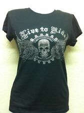 "JUNIORS BIKER T-SHIRT ""Live to Ride"" SILVER RHINESTONES SKULL & WINGS  S-XL 2X"