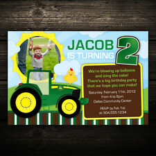 Green Tractor Farm -- Printable Photo Birthday Party Invitations