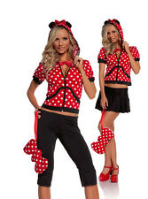 Miss Mouse Costume Animal Minnie Black Red Ears Bow Purse Hoodie Skirt 9511
