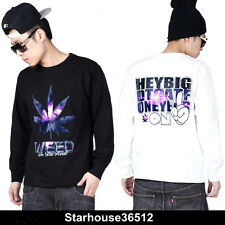 Hiphop Gothic Mens Galaxy space Graphic Print top round Tee t shirt long sleeve